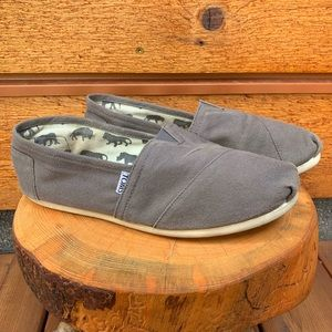TOMS Grey Canvas Classic Slip-On Shoes / Flats
